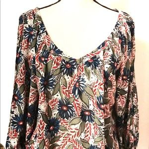 Lucky Brand Floral Print V-Neck Blouse Size Large